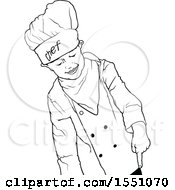 Black And White Chef Boy Pointing