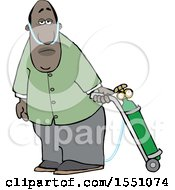 Clipart Of A Cartoon Black Man On Oxygen Therapy Royalty Free Vector Illustration