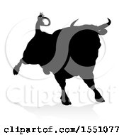 Clipart Of A Silhouetted Black Bull With A Shadow On A White Background Royalty Free Vector Illustration