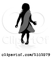 Clipart Of A Silhouetted Girl With A Reflection Or Shadow On A White Background Royalty Free Vector Illustration