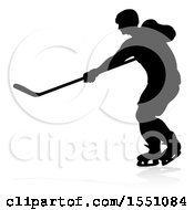 Clipart Of A Silhouetted Hockey Player With A Reflection Or Shadow Royalty Free Vector Illustration
