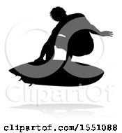 Clipart Of A Silhouetted Surfer With A Reflection Or Shadow On A White Background Royalty Free Vector Illustration