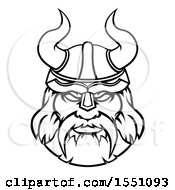 Clipart Of A Black And White Tough Male Viking Warrior Face Wearing A Horned Helmet Royalty Free Vector Illustration