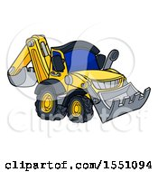 Clipart Of A Yellow Digger Bulldozer Machine Royalty Free Vector Illustration
