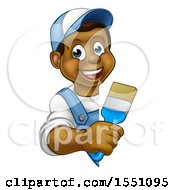 Happy Black Male Painter Holding A Brush Around A Sign