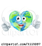 Poster, Art Print Of Happy Heart Shaped Earth Globe Character Giving Two Thumbs Up