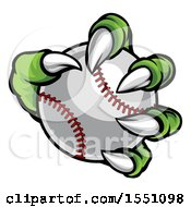 Clipart Of A Green Monster Claw Holding A Baseball Royalty Free Vector Illustration