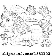 Poster, Art Print Of Black And White Unicorn With Butterflies