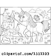 Black And White Unicorn Near A Castle