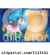 Clipart Of A Blank Scroll And Pink Unicorn With Colorful Hair Royalty Free Vector Illustration
