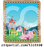 Clipart Of A Parchment Border Of A Castle And Resting Pink Unicorn With Colorful Hair Royalty Free Vector Illustration by visekart