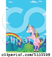 Clipart Of A Rainbow And Rearing Pink Unicorn Royalty Free Vector Illustration by visekart