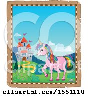 Clipart Of A Parchment Border Of A Castle And A Pink Unicorn With Colorful Hair Royalty Free Vector Illustration by visekart