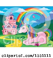 Clipart Of A Castle And Resting Pink Unicorn With Colorful Hair Royalty Free Vector Illustration by visekart