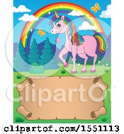 Clipart Of A Unicorn Rainbow And Parchment Scroll Royalty Free Vector Illustration by visekart