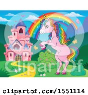 Clipart Of A Rainbow Castle And Rearing Pink Unicorn Royalty Free Vector Illustration by visekart