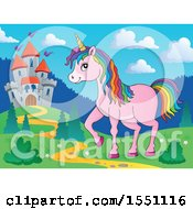 Clipart Of A Castle And A Pink Unicorn With Colorful Hair Royalty Free Vector Illustration by visekart