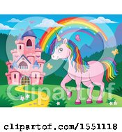 Clipart Of A Rainbow Castle And A Pink Unicorn With Colorful Hair Royalty Free Vector Illustration by visekart