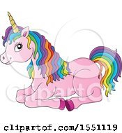 Clipart Of A Resting Pink Unicorn With Colorful Hair Royalty Free Vector Illustration by visekart