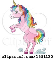 Clipart Of A Rearing Pink Unicorn Royalty Free Vector Illustration