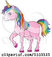 Clipart Of A Pink Unicorn With Colorful Hair Royalty Free Vector Illustration
