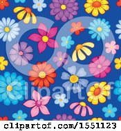 Clipart Of A Seamless Spring Flower Pattern Background Royalty Free Vector Illustration