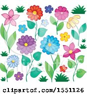 Clipart Of Spring Time Flowers Royalty Free Vector Illustration