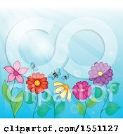 Clipart Of A Garden With Bees And Flowers Against A Blue Sky Royalty Free Vector Illustration by visekart