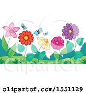 Clipart Of A Garden With Bees And Flowers Royalty Free Vector Illustration