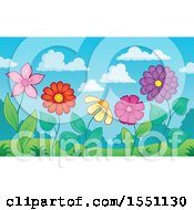 Clipart Of A Garden With Flowers Against A Blue Sky Royalty Free Vector Illustration