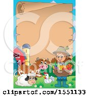 Scroll Border And A Farmer Girl Holding A Basket Of Produce By Animals