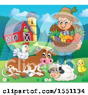 Farmer Girl Holding A Basket Of Produce By Animals
