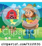 Clipart Of A Farmer Girl Holding A Basket Of Produce Near A Barn Royalty Free Vector Illustration by visekart