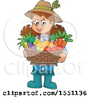 Clipart Of A Farmer Girl Holding A Basket Of Produce Royalty Free Vector Illustration