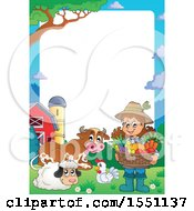 Border Of A Farmer Girl Holding A Basket Of Produce By Animals