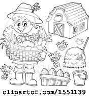 Clipart Of A Lineart Farmer Girl Holding A Basket Of Produce Royalty Free Vector Illustration