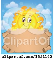 Clipart Of A Happy Sun With A Parchment Scroll Royalty Free Vector Illustration