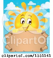 Clipart Of A Happy Summer Sun With A Parchment Scroll Royalty Free Vector Illustration
