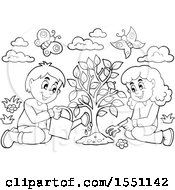 Lineart Girl And Boy Planting A Tree
