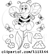 Poster, Art Print Of Black And White Flower And Bees