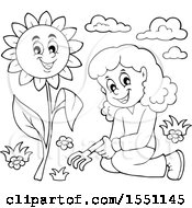 Clipart Of A Lineart Girl By A Sunflower Royalty Free Vector Illustration