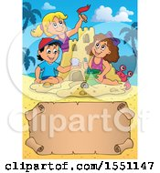 Group Of Happy Children Making A Sand Castle On A Beach With A Scroll