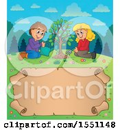 Clipart Of A Girl And Boy Planting A Tree Over A Parchment Scroll Royalty Free Vector Illustration