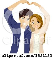 Clipart Of A Teenage Couple Forming A Heart With Their Arms Royalty Free Vector Illustration