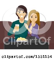 Poster, Art Print Of Teenage Couple Watching A Shocking Movie Together