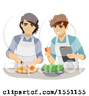 Clipart Of A Teenage Gay Couple Cooking Together Royalty Free Vector Illustration