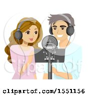 Clipart Of A Teen Couple Singing A Duet Royalty Free Vector Illustration