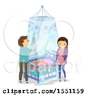 Happy Expecting Couple Setting Up A Net Around A Baby Crib