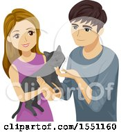 Clipart Of A Happy Young Couple Adopting A Cat Royalty Free Vector Illustration