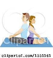 Clipart Of A Couple Meditating Back To Back On A Yoga Mat Royalty Free Vector Illustration